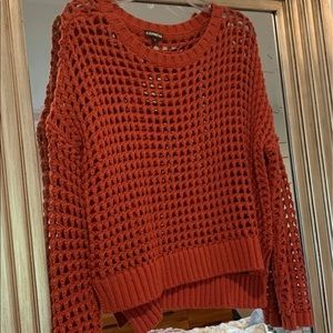 Express Open Knit Rust Orange Cable Sweater